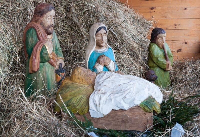 WeihnachtsGeburt Christisszene stockbild