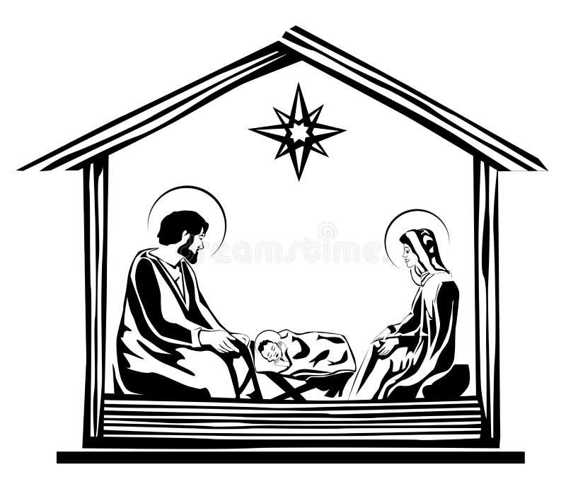 WeihnachtsGeburt Christiszene vektor abbildung