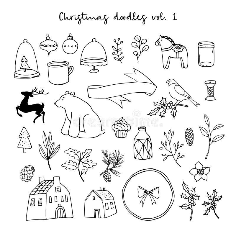 Weihnachtsgekritzel-Ikonensatz Schwarze lokalisierte Skizzen auf weißem Hintergrund Tier-, mit Blumen, Häuser und Lebensstilvekto stock abbildung