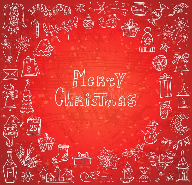 Weihnachtsgekritzel-Karte Vektorfahne mit Symbolen der Winterurlaube lizenzfreie abbildung