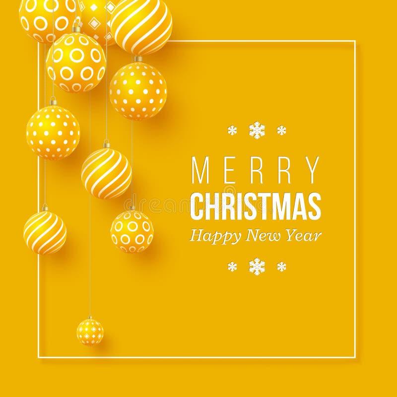 Weihnachtsgelber Flitter mit geometrischem Muster realistische Art 3d mit weißem Rahmen, abstrakter Feiertagshintergrund vektor abbildung