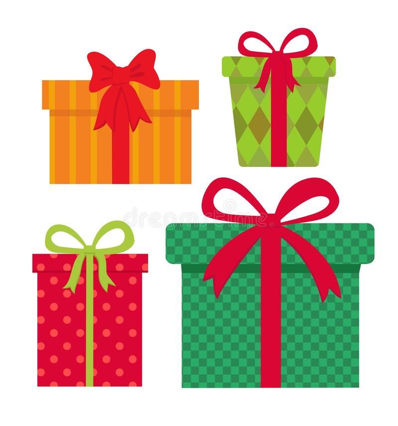 Weihnachtsgeschenk Ikonengeschenkbox-Vektorillustration den flachen Vektor, der auf weißem Hintergrundelement lokalisiert wird vektor abbildung