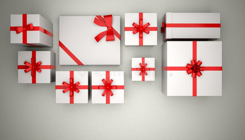 Weihnachtsgeschenk im Weiß auf grauem Hintergrund lizenzfreie abbildung