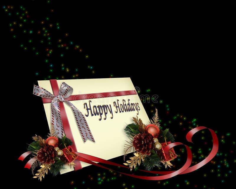 Weihnachtsgeschenk-Kartenfarbbänder lizenzfreie abbildung