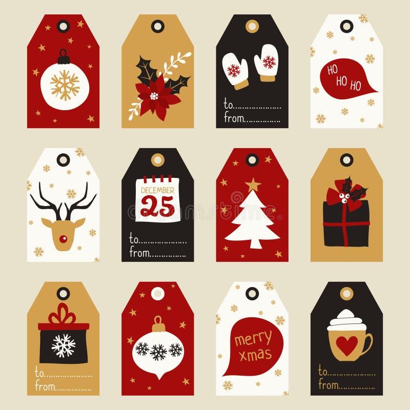Weihnachtsgeschenk-Marken eingestellt lizenzfreie abbildung