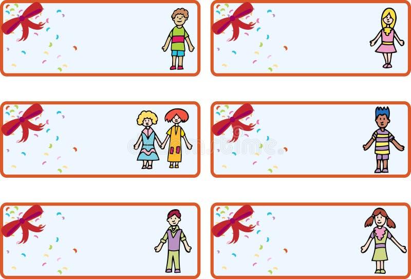 Weihnachtsgeschenk-Marken - Kinder stock abbildung