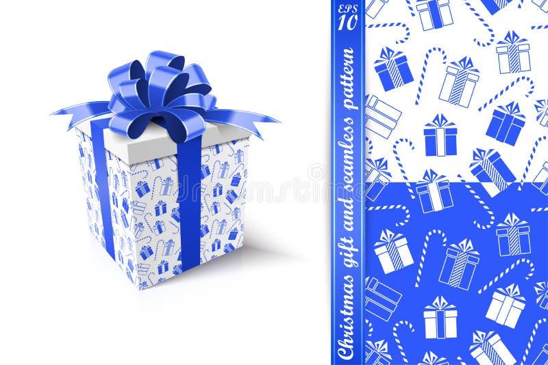 Weihnachtsgeschenk und nahtloses Muster Konzept des neuen Jahres Vektor IL lizenzfreie abbildung