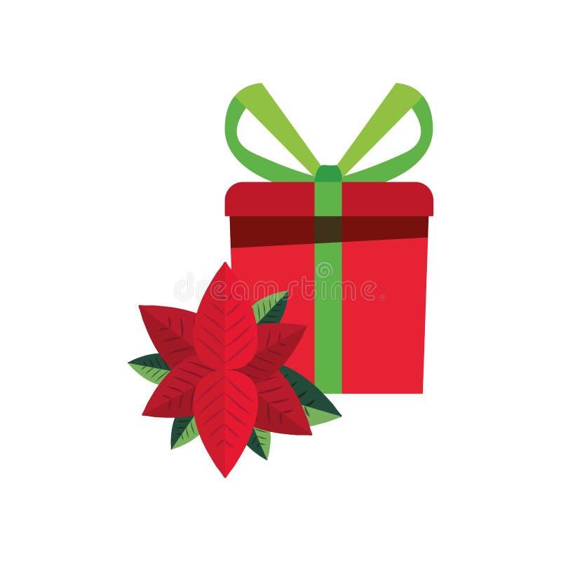 Weihnachtsgeschenkbox-Blumendekoration vektor abbildung