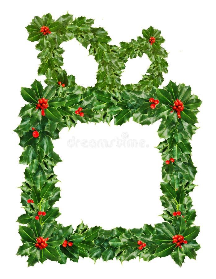 Weihnachtsgeschenkbox grüne Holly Leaves und Beeren lokalisiert auf weißem Hintergrund stock abbildung