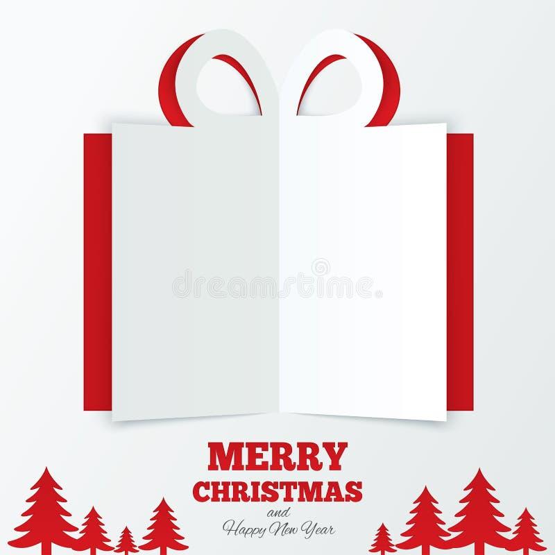 Weihnachtsgeschenkbox schnitt das Papier. Weihnachtsbaum. stock abbildung