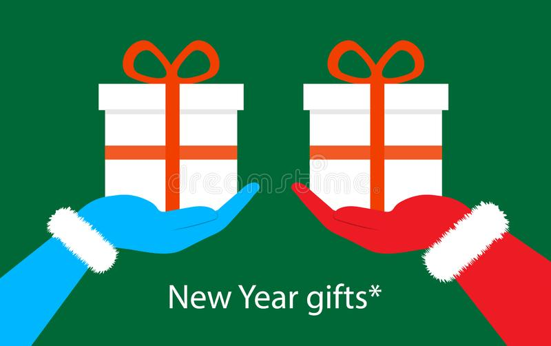 Weihnachtsgeschenke in der Hand Santa Clauss vektor abbildung