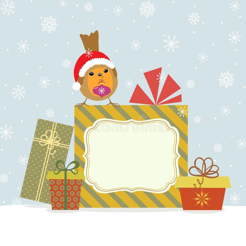 Weihnachtsgeschenke und -robin lizenzfreie abbildung