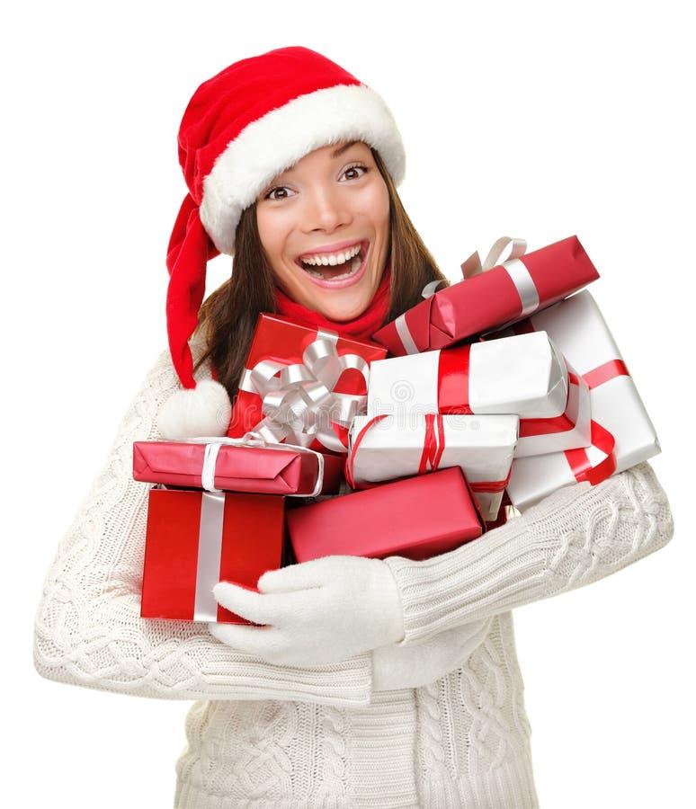 Weihnachtsgeschenkfrau lizenzfreie stockbilder