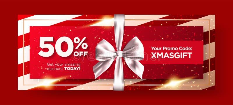 Weihnachtsgeschenkgutschein-oder -weihnachtsgeschenk-Karten-Vektor-Entwurf lizenzfreie abbildung