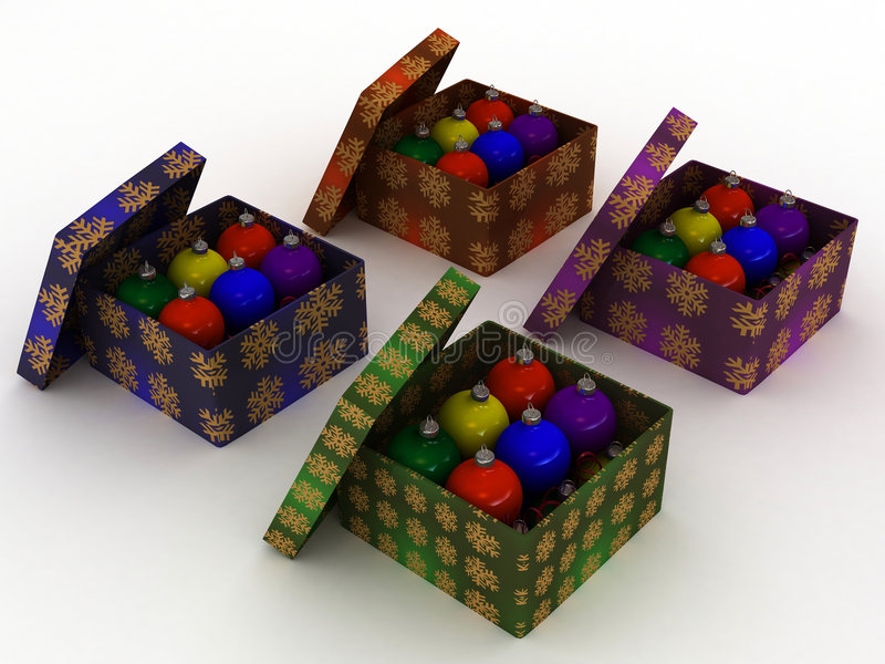 Weihnachtsgeschenkkästen und Weihnachtskugeln lizenzfreie abbildung