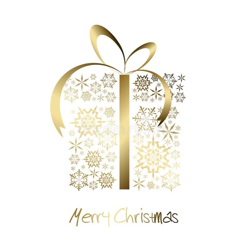 Weihnachtsgeschenkkasten hergestellt von den goldenen Schneeflocken lizenzfreie abbildung