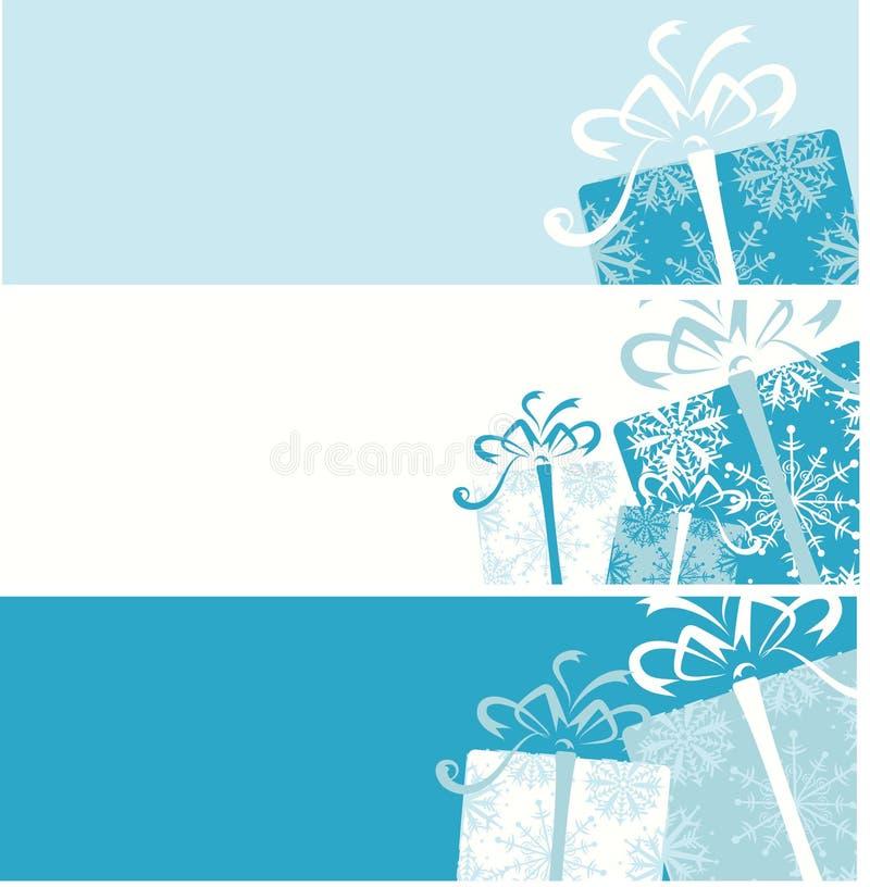 Weihnachtsgeschenkkastenfahnen für Ihre Auslegung stock abbildung