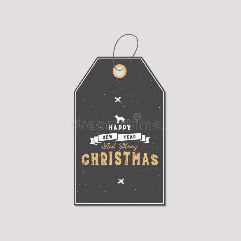Weihnachtsgeschenktag Typografiezitatdesign Glückliches neues Jahr und frohe Weihnachten Feiertagszeichen mit Hundesymbol stock abbildung