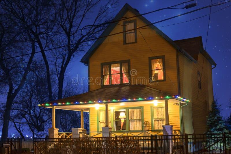 Weihnachtsgeschichten-Haus lizenzfreie stockfotografie