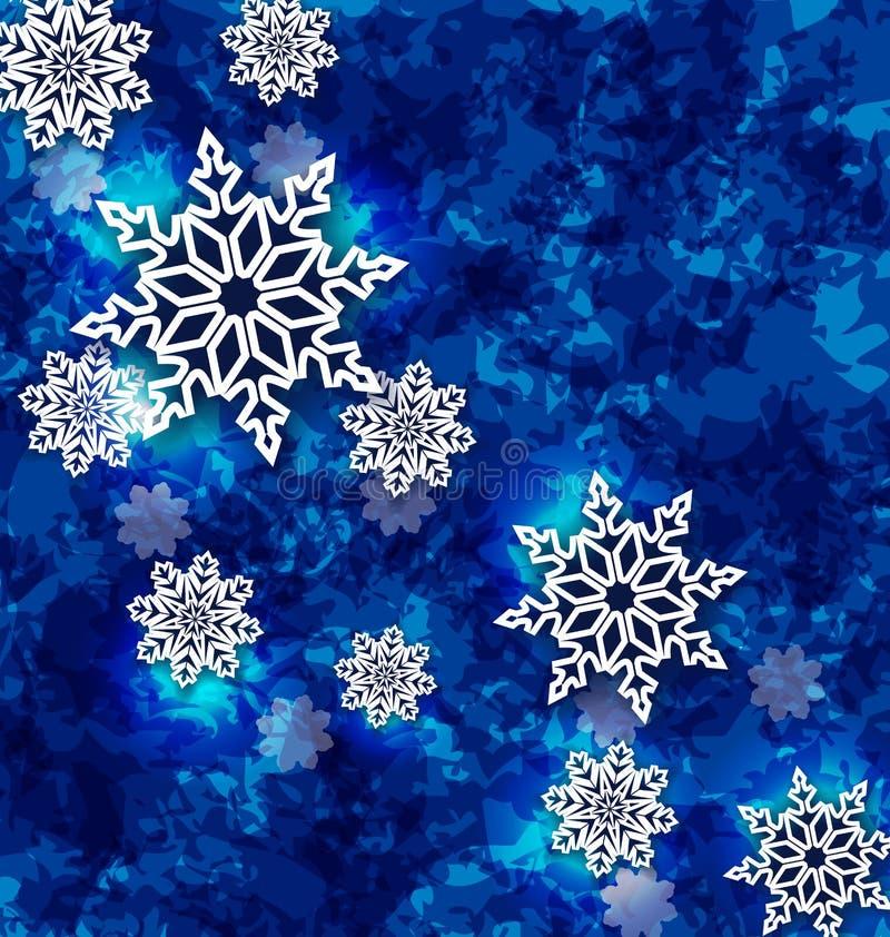 Weihnachtsgesetzte Schneeflocken auf dunkelblauem Schmutzhintergrund vektor abbildung