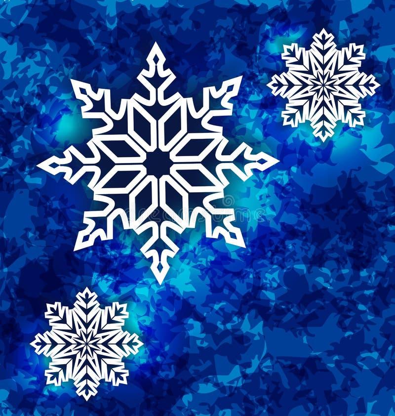 Weihnachtsgesetzte Schneeflocken auf dunkelblauem Schmutzhintergrund stock abbildung