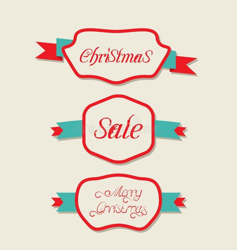 Weihnachtsgesetzte Veränderungs-Weinleseaufkleber mit Text lizenzfreie abbildung