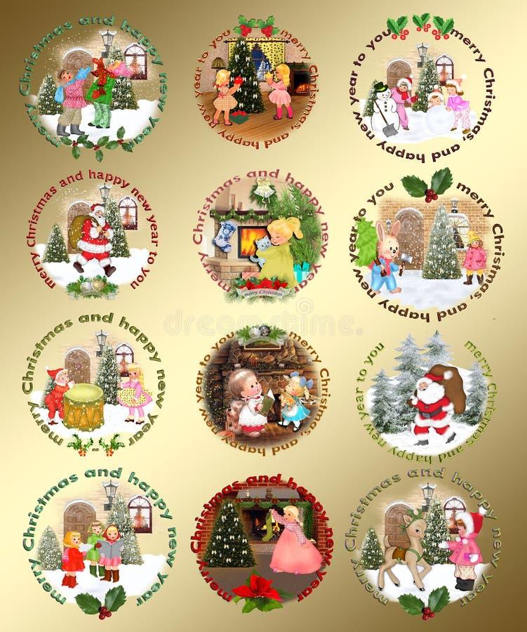 Weihnachtsgestaltungselemente stock abbildung