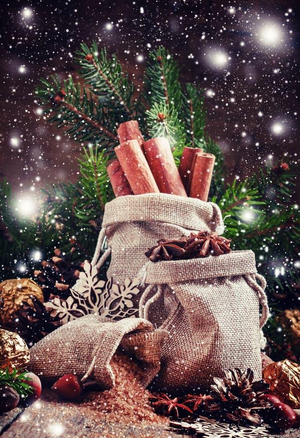 Weihnachtsgewürze in den Taschen, Süßigkeit und Nüsse, verzierten Tannenzweige lizenzfreie stockbilder