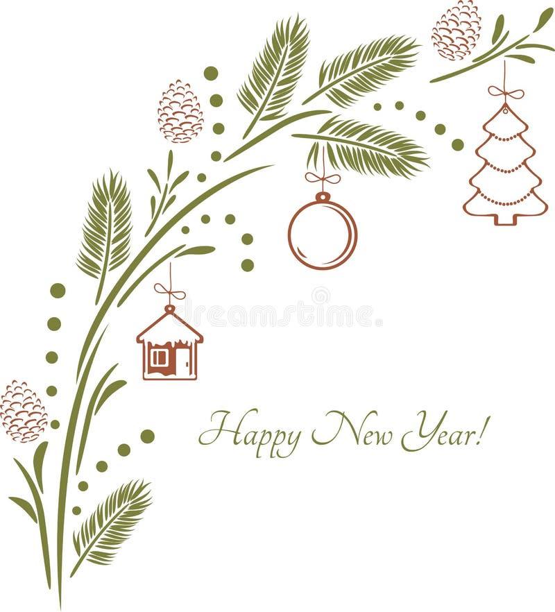 Weihnachtsgezierter Zweig mit Spielwaren Weinleseauslegung für Grußkarte lizenzfreie abbildung