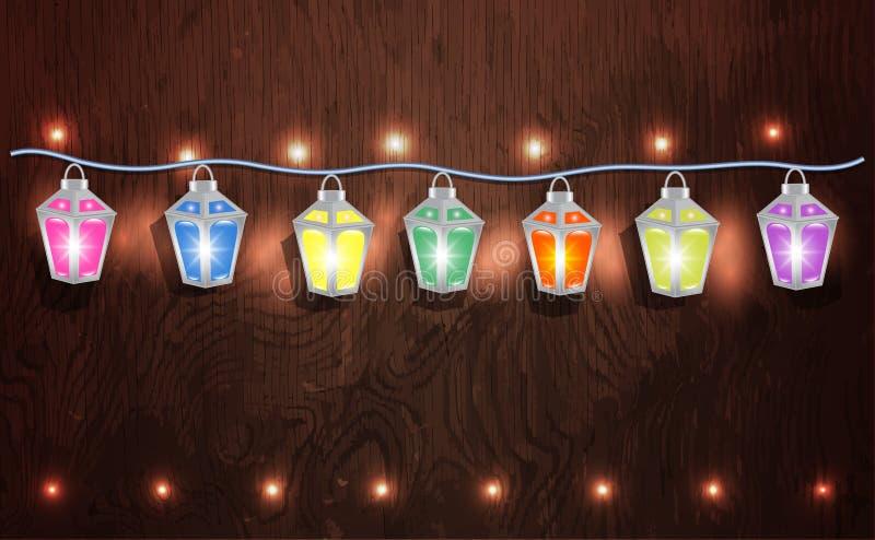 Weihnachtsgirlande von glühenden Laternen lizenzfreie abbildung