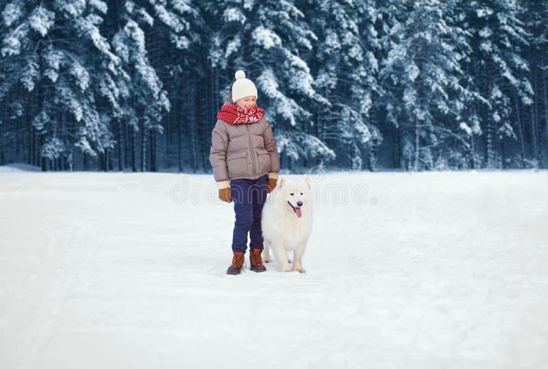 Weihnachtsglückliches Kind, das mit weißem Samoyedhund auf Schnee im Winter über schneebedecktem Baumwaldhintergrund geht stockbilder