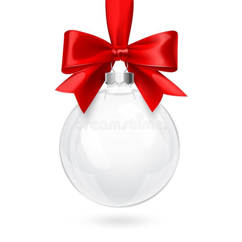 Weihnachtsglaskugel mit rotem Bogen stock abbildung