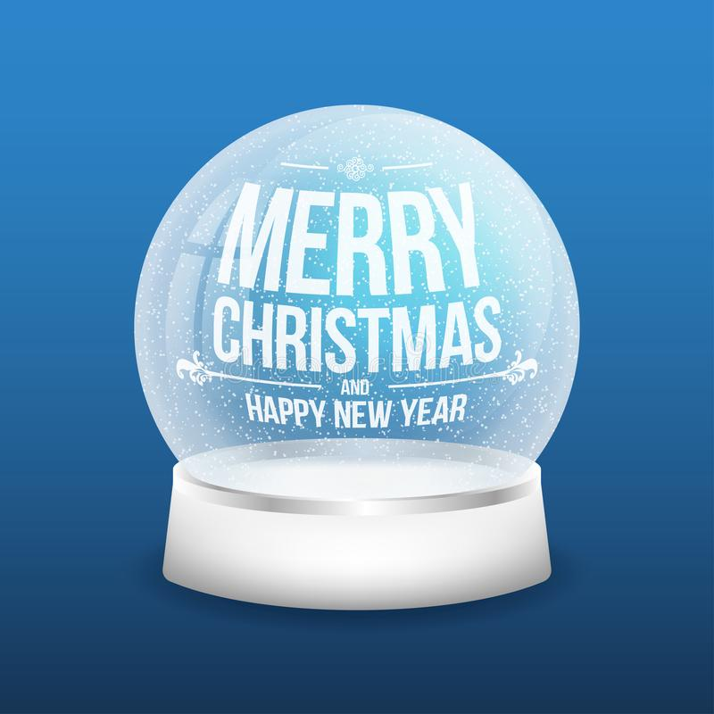 Weihnachtsglasschneeball auf blauem Hintergrund Realistischer Kristallschneeball mit heller Reflexion stock abbildung