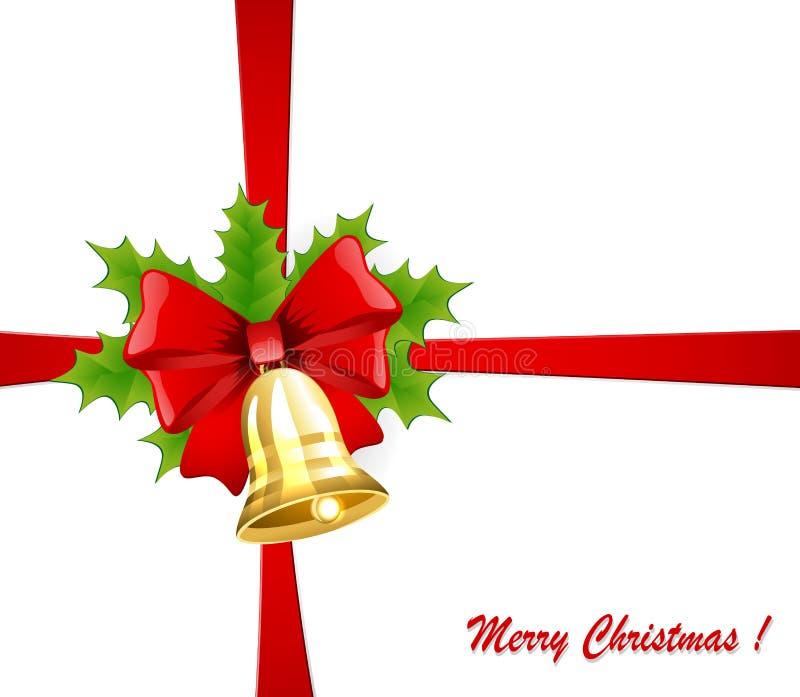Weihnachtsglocke mit einem roten Bogen und einer Stechpalme lizenzfreie abbildung