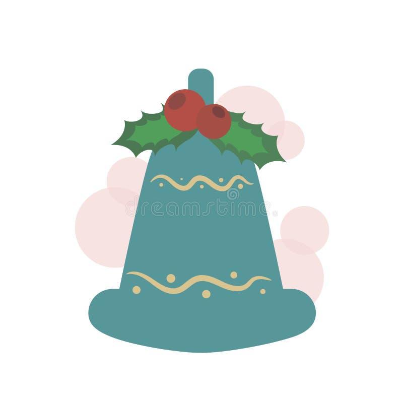 Weihnachtsglocke mit roten Viburnumbeeren und -blättern auf einem weißen Hintergrund Nette Vögel eingestellt vektor abbildung