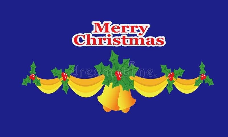 Weihnachtsglocken, Bänder, Stechpalme vektor abbildung