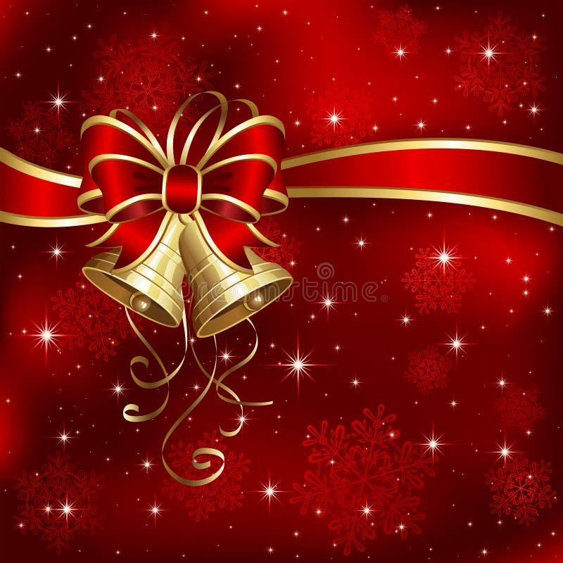 Weihnachtsglocken mit Schneeflocken stock abbildung