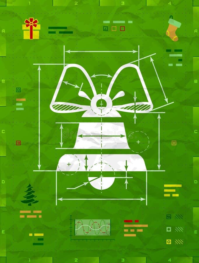Weihnachtsglockensymbol als technische Planzeichnung stockbild