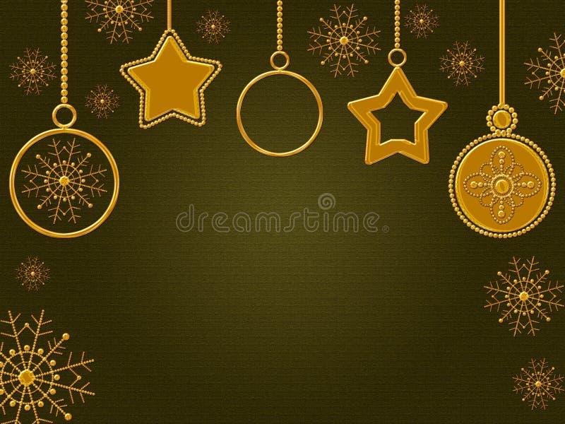 Weihnachtsgoldene Elemente, grüner Hintergrund mit heller Steigung stock abbildung