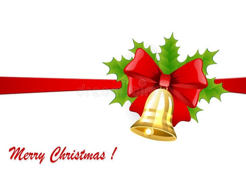 Weihnachtsgoldene Glocke mit einem roten Bogen und einer Stechpalme stock abbildung