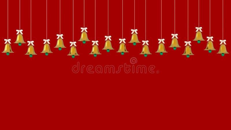 Weihnachtsgoldene Glocken verziert das Hängen am roten Hintergrund stellen Sie Kopienraum für Kunstwerkdesignanzeige dar oder add lizenzfreie abbildung
