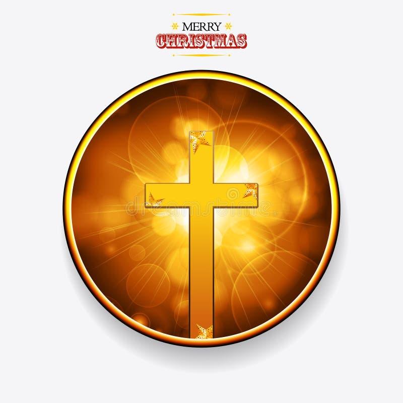 Weihnachtsgoldene Grenze mit Goldkreuz und -sternen lizenzfreie abbildung