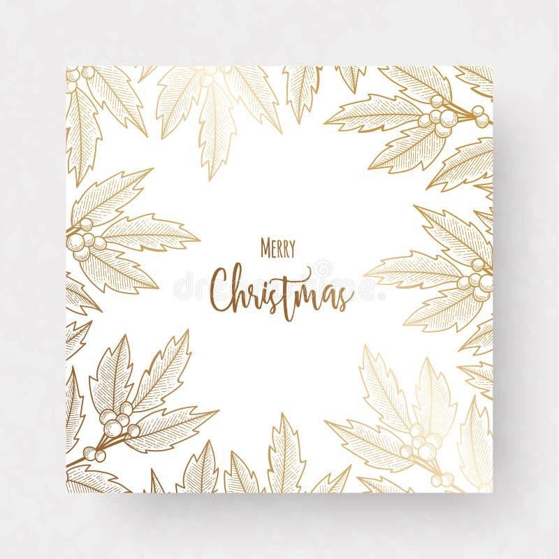 Weihnachtsgoldene Karte mit Stechpalmenbeere lizenzfreie abbildung