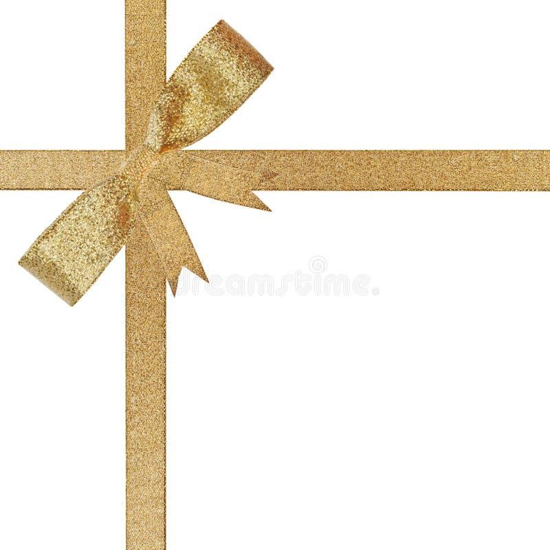Weihnachtsgoldenes Farbband und -bogen lizenzfreie stockfotos