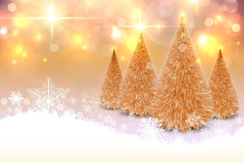 Weihnachtsgoldhintergrund mit Schneeflocken vektor abbildung