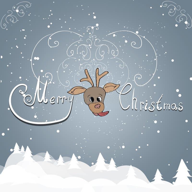 Weihnachtsgrüße auf einem grauen Hintergrund lizenzfreie abbildung