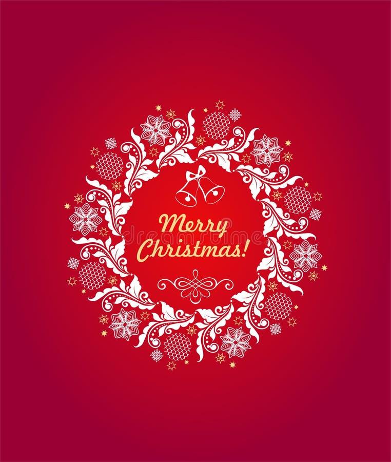 Weihnachtsgrüßende heiße rote Karte mit Blumenpapier herausgeschnittenem Handwerksweihnachtskranz mit Spitzen- Flitter und Schnee vektor abbildung