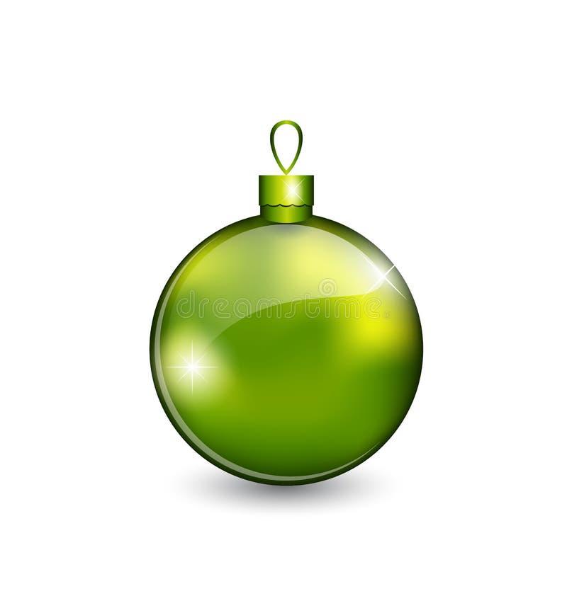 Weihnachtsgrüne Kugel auf weißem Hintergrund vektor abbildung