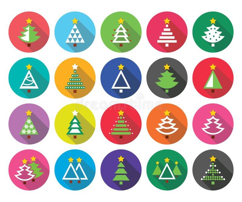 Weihnachtsgrüner Baum - verschiedene Arten flache Designikonen des Vektors eingestellt vektor abbildung