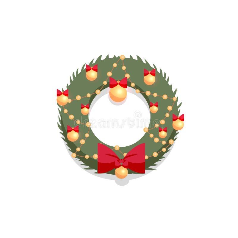 Weihnachtsgrüner Kranz verziert durch roten Bogen und goldene Bälle auf einem weißen Hintergrund Flache Karikaturart-Vektorillust stock abbildung